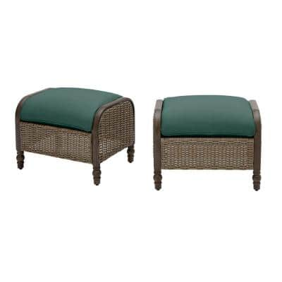 Windsor Brown Wicker Outdoor Patio Ottoman with CushionGuard Charleston Blue-Green Cushions (2-Pack)