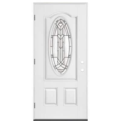 36 in. x 80 in. Chatham 3/4 Oval Right-Hand Outswing Primed White Smooth Fiberglass Prehung Front Exterior Door