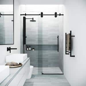 Elan 56 to 60 in. x 74 in. Frameless Sliding Shower Door in Black with Clear Glass and Handle