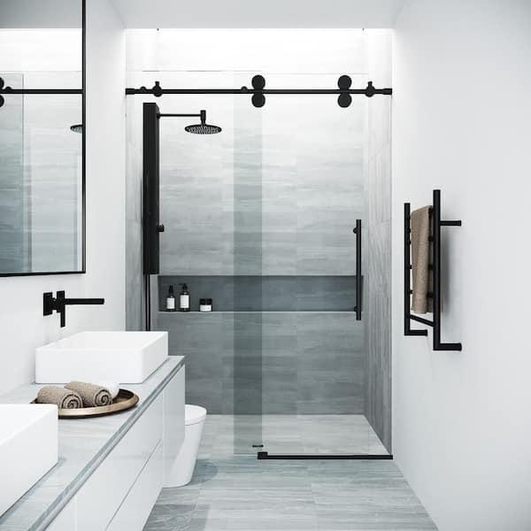 H Sliding Frameless Shower Door In, Shower Stall Glass Doors Home Depot