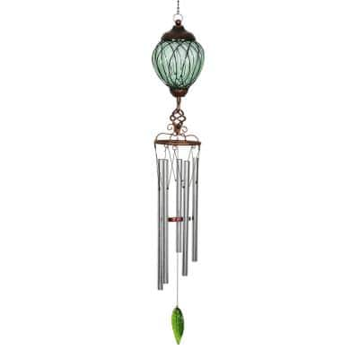 Solar Green Oval Link Metal and Glass Wind Chimes