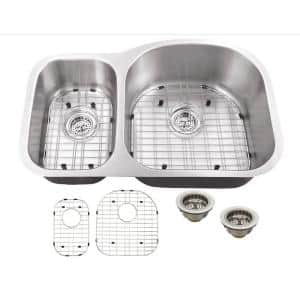 Undermount 18-Gauge Stainless Steel 32 in. 0-Hole 30/70 Double Bowl Kitchen Sink with Grid Set and Drain Assemblies