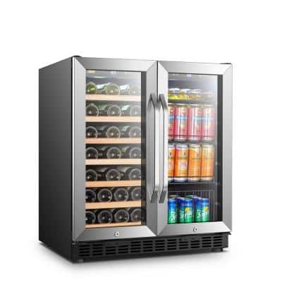 30 in. 33-Bottle 70-Can Stainless Steel Dual Zone Combo Wine and Beverage Refrigerator
