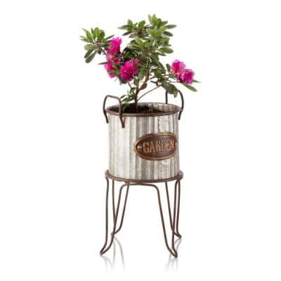 16 in. Tall Outdoor Small Metal Flower Can Planter with Stand