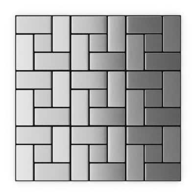 California Silver Stainless Steel 11.3 in. x 11.3 in. x 5mm Metal Peel and Stick Wall Mosaic Tile