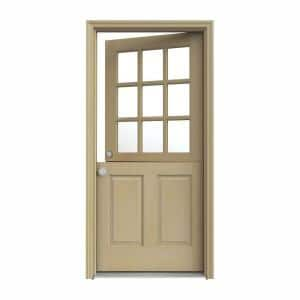36 in. x 80 in. 9 Lite Unfinished Wood Prehung Right-Hand Inswing Dutch Back Door with AuraLast Jamb and Brickmold