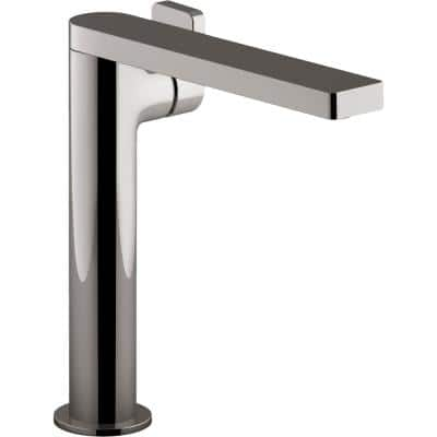 Composed Single Hole Single-Handle Tall Vessel Bathroom Faucet with Lever Handle and Drain in Titanium