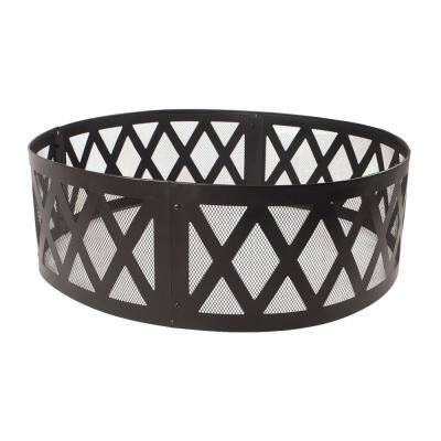 36 in. x 12 in. Round Steel Wood Burning Lattice Fire Ring in Black