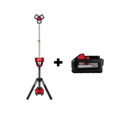 M18 18-Volt Lithium-Ion Cordless 3,000 Lumens Rocket Dual Power Tower Light with Charger with (1) XC 8.0 Ah Battery