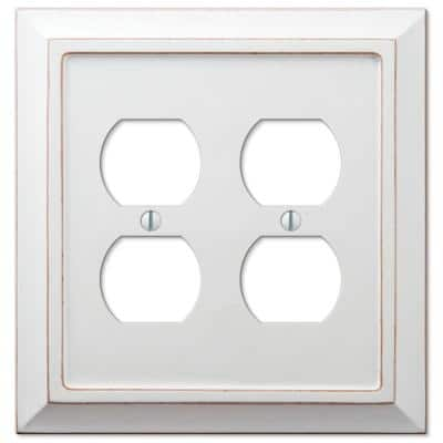 Savannah 2 Gang Duplex Wood Wall Plate - White