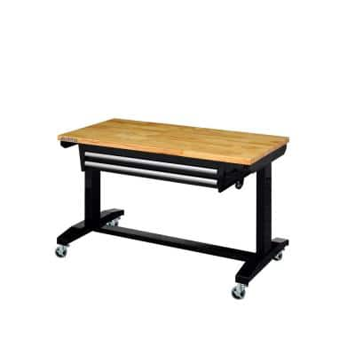46 in. Adjustable Height Work Table with 2-Drawers in Black