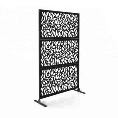 New Style MetalArt Laser Cut Metal Black TreeLeaves Privacy Fence Screen (24 in. x 48 in. per Piece 3-Piece Combo)