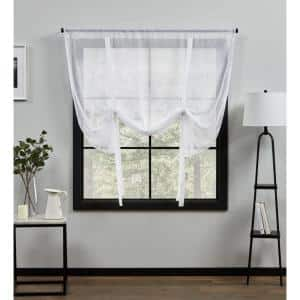 White Solid Rod Pocket Sheer Curtain - 54 in. W x 63 in. L