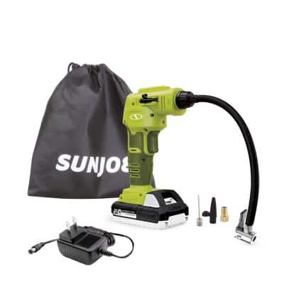24-Volt Cordless Portable Inflator and Nozzle Adapters Kit with 1.3 Ah Battery + Charger
