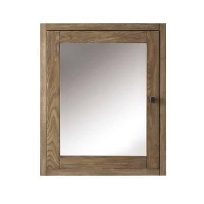 Brisbane 23 in. W Framed Bathroom Medicine Cabinet in Weathered Grey Oak