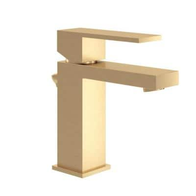 Duro Single Hole Single-Handle Bathroom Faucet with Drain Assembly in Brushed Gold