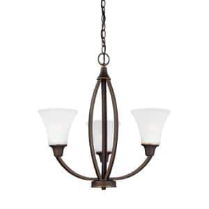 Metcalf 3-Light Autumn Bronze Traditional Transitional Hanging Empire Bell Chandelier with Satin Etched Glass Shades
