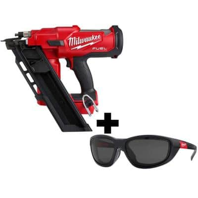 M18 FUEL 3-1/2 in. 18-Volt 30-Degree Lithium-Ion Brushless Framing Nailer and Polarized Tinted Safety Glasses w/ Gasket