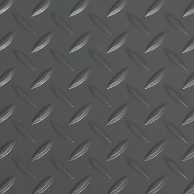 Diamond Tread 7.5 ft. x 17 ft. Slate Grey Commercial Grade Vinyl Garage Flooring Cover and Protector