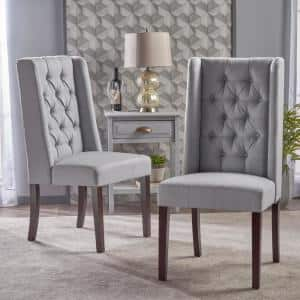 Blythe Light Grey and Brown Tufted Dining Chairs (Set of 2)
