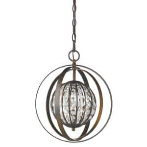 Olivia 1-Light Indoor Oil Rubbed Bronze with Crystal Pendant