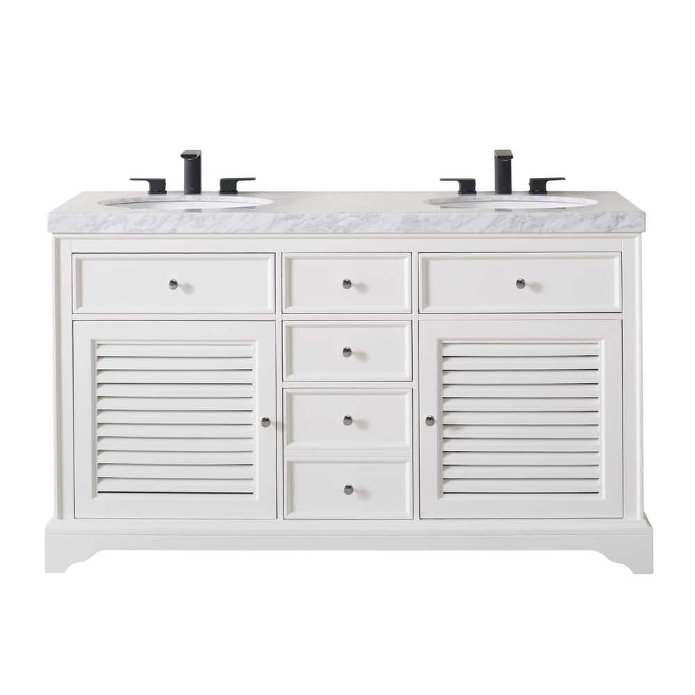 Stufurhome Magnolia 60 In Bath Vanity In White With White Marble Vanity Top In White With White Basin And Matte Black Faucet Ty 899 60 555mb The Home Depot