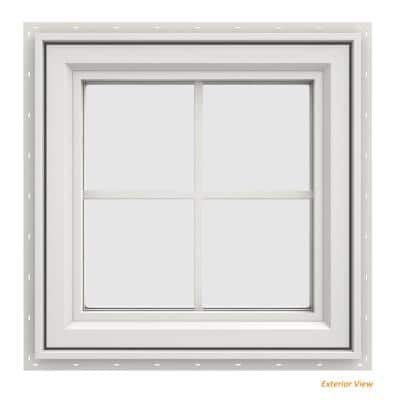 23.5 in. x 23.5 in. V-4500 Series White Vinyl Left-Handed Casement Window with Colonial Grids/Grilles