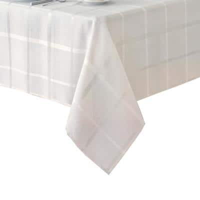 60 in. W x 144 in. L White Elegance Plaid Damask Fabric Tablecloth