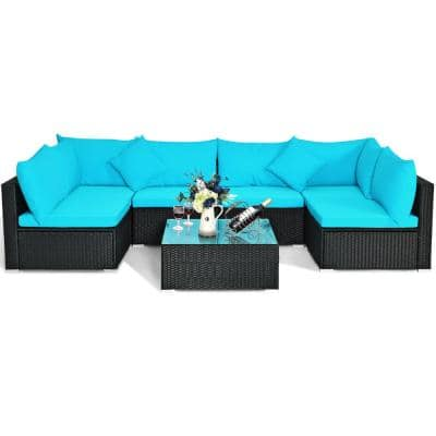 Costway Patio Rattan 29 in. Navy Blue Sponge 6-Seater English Rolled Arm Sofa w/ Removable Cushions