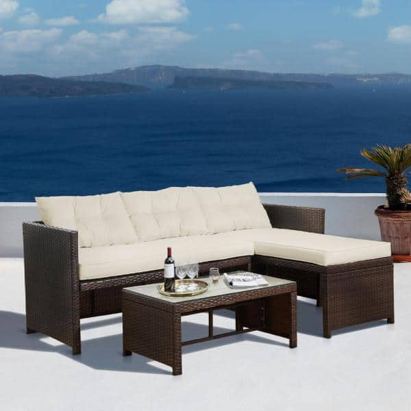 Peaktop 3 Pieces Wicker Sectional, Peaktop 3 Piece Wicker Patio Set With Cushions