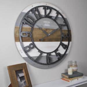 27 in. Shabby Planks Wall Clock