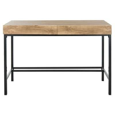 44 in. Rectangular Brown/Black 2 Drawer Writing Desk with Built-In Storage
