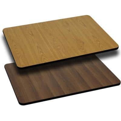30 in. x 60 in. Rectangular Table Top with Natural and Walnut Reversible Laminate Top