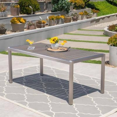 Cape Coral Silver Rectangular Aluminum Outdoor Dining Table with Gray Faux Wood Top