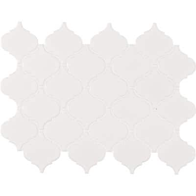 Retro Bianco Arabesque 10.63 in. x 8.84 in. x 6mm Glossy Porcelain Mesh-Mounted Mosaic Tile (10.95 sq. ft. / case)