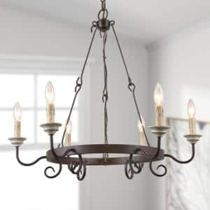 New World Decor Chris 27 1 2 In 6 Light Antique Brass Iron Wagon Wheel Candle Chandelier 3qi2uihd13769d7 The Home Depot