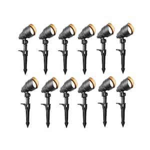 4.5-Watt Millennium Black Outdoor Integrated LED Landscape Flood Lights with Adjustable Light Color (12-pack)