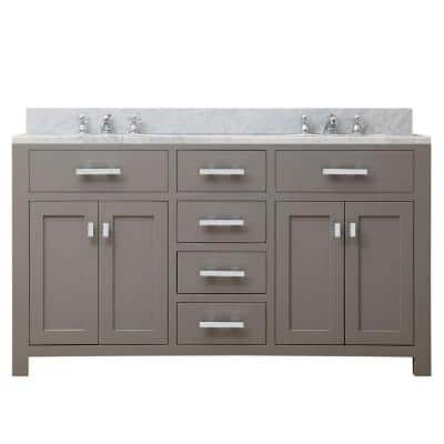 60 in. W x 21 in. D Vanity in Cashmere Grey with Marble Vanity Top in Carrara White and Chrome Faucets
