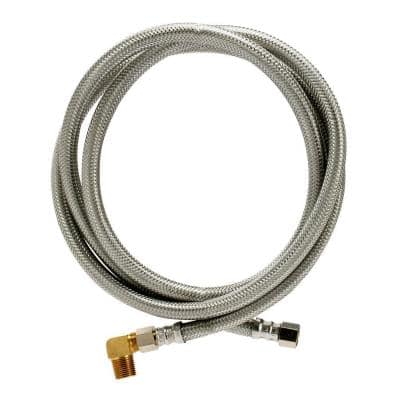 Braided Stainless Steel Dishwasher Connector 3/8 in. Comp x 3/8 in. Comp x 72 in. Length, with 90° Elbow Fitting