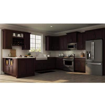 Shaker Java Stock Assembled Base Kitchen Cabinet with Ball-Bearing Drawer Glides (36 in. x 34.5 in. x 24 in.)