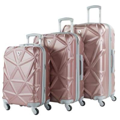 Gem 3-Piece Rose Gold Hardside Expandable Spinner Luggage Set