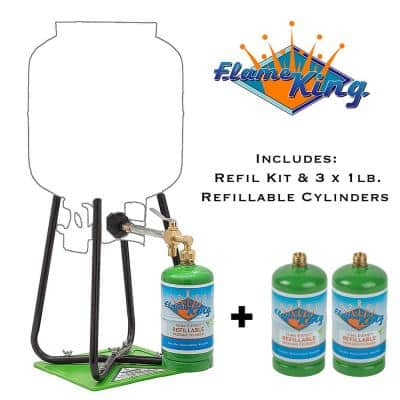 Three 1 lb. Refillable Propane Cylinders with Refill Kit