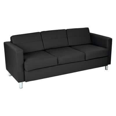 Pacific 72.5 in. Black Faux Leather 3-Seater Lawson Sofa with Removable Cushions