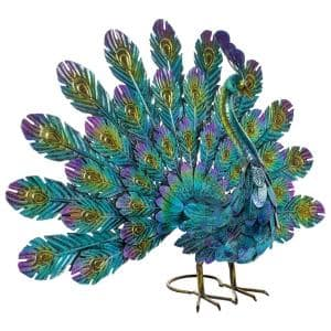 23 in. Tall Outdoor Metallic Peacock Tail Spread Yard Statue Decoration, Multicolor