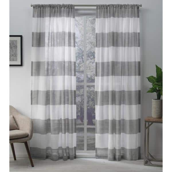 Two  96 x 50  Custom  LINED Curtain Panels Rod Pockets White and Grey Stripes
