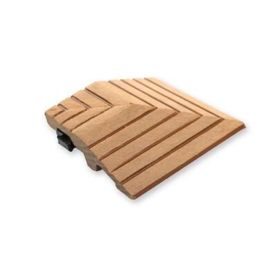 MI Premier 0.24 ft. x 0.24 ft. Interlocking Loose Lay Composite Corner Deck Tile In Oak (4 Corners Per Case)