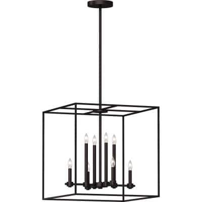 8-Light Indoor Antique Bronze 3D / Caged Candle-Style Downrod Square Prism Pendant Chandelier with Inner Candelabra