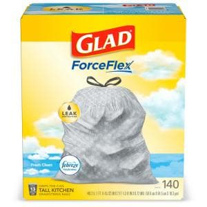 ForceFlex 13 Gal. Tall Kitchen Drawstring Fresh Clean Scent with Febreze Freshness Trash Bags (140-Count)