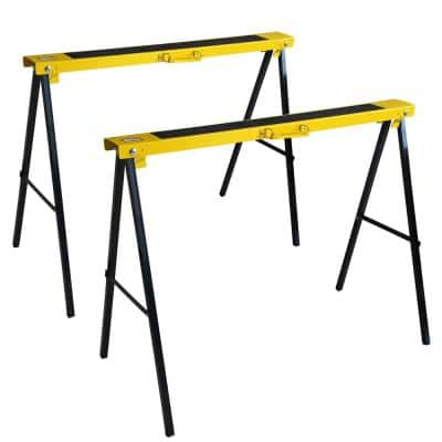 30 in. Heavy-Duty Steel Saw Horse with Folding Legs and Portable Handle (2-Pack)