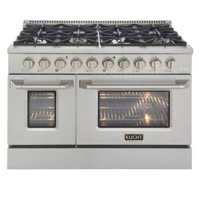 Pro-Style 48 in. 6.7 cu. ft. Double Oven Liquid Propane Range with 8 Burners in Stainless Steel and Silver oven Doors